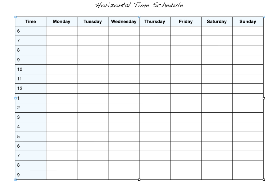 weekly hour schedule